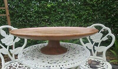 "Vintage Large Round Carved Wooden Footed  Bowl 27"" wide"