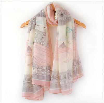 Women's Floral Paris Eiffel Tower Printed Scarf Wrap Long Shawl Large Scarves AU