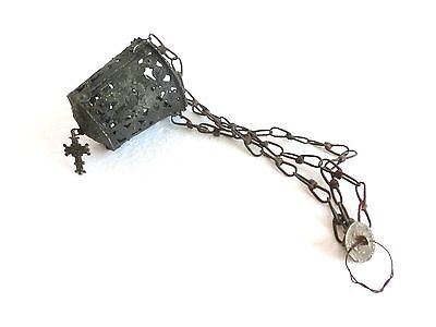 1700's TRIPLE CHAIN ORTHODOX CENSER LAMPADA CRUCIFIX JESUS CHRIST GOLGOTA  CROSS