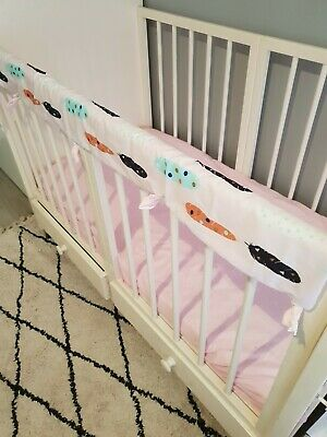 **SALE**Baby Cot Crib Rail Cover Teething Pad pink feathers padding