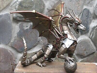 Steampunk Art Collection ~ Steampunk Dragon holding Sphere
