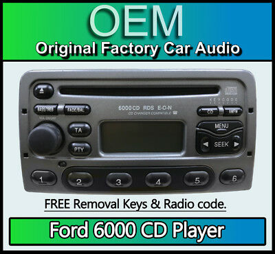 Ford Cougar CD player, Grey Ford 6000 car stereo + radio removal keys & code