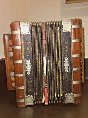 GEBR. LUDWIG ACCORDION Pine Tree STEEL BRONZE Squeeze Box REEDS Germany ANTIQUE