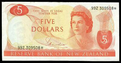 New Zealand - $5 - Star Note - Hardie - 992 309508* Extremely Fine