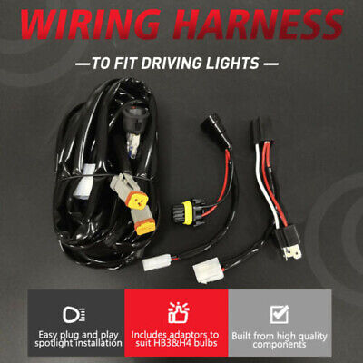 Plug and Play High Beam Driving Lights Wiring Harness Kit LED bar HB3&H4 12V 24V