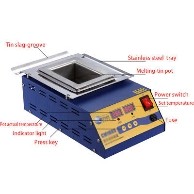 110V Digital Preheating Soldering Pot / Preheat Station Square Tin Pot 900W