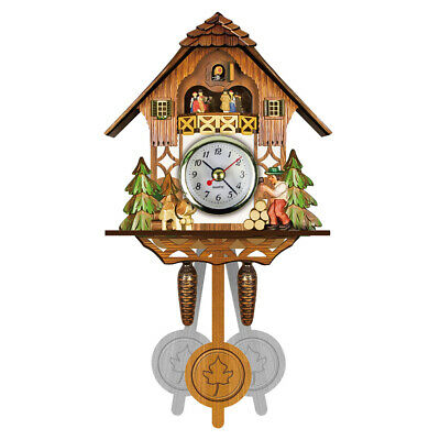 Antique Wooden Wall Clock Bird Time Bell Swing Alarm Clock Home Room Art Decor