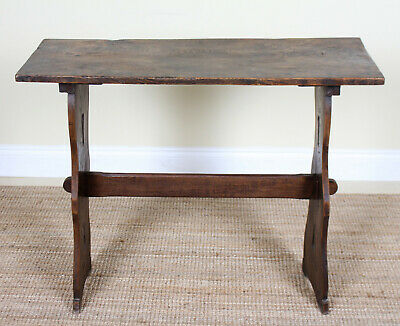 Antique Rustic Elm Trestle Side Console Table 19th Century Country