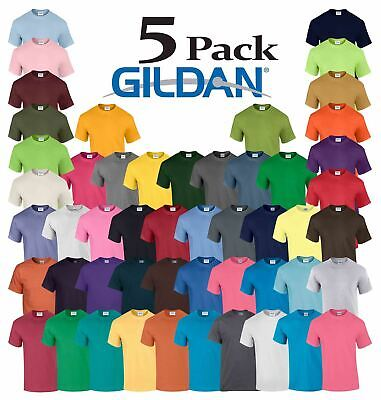 5 Pack Plain Gildan Mens Heavy Cotton Short Sleeve Plain T-Shirt Tee T Shirt