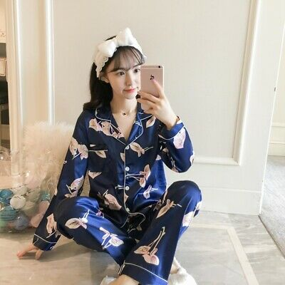 Ladies Stunning Printed Satin Silk Soft Comfort Pyjamas Long Sleeve Homewear Pj