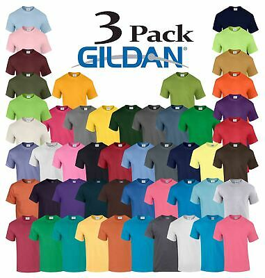 3 Pack Plain Gildan Mens Heavy Cotton Short Sleeve Plain T-Shirt Tee T Shirt
