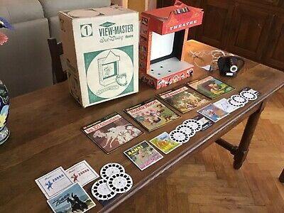 View master vintage theater box disney projector working + 21 reels Disney lot