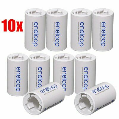 10 Pcs Sanyo Eneloop Battery Adaptor Converter Case AA R6 to C R14 C-Size