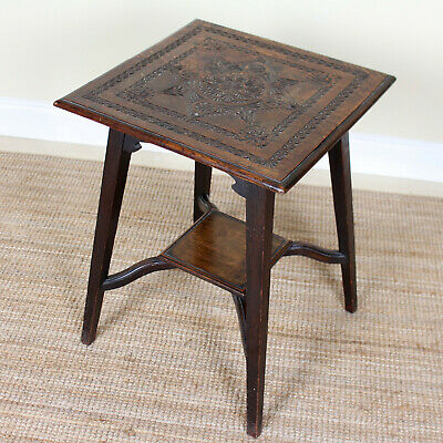 Antique Arts & Crafts Oak Side Table Carved Console Lamp Table