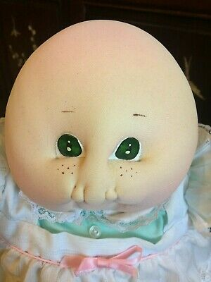 Cabbage Patch Kid ~ Soft Sculpture Little People Bald ~ Green Eyes & Freckles