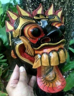 Mask Wooden Carving Art African Bali Wall Decor  Hand Painted Tongue Face Demon