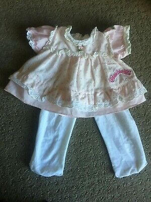 Cabbage Patch Kid ~ Vintage Tagged Cpk Pink Country Flowers Dress & Stockings