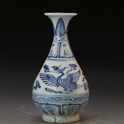 Chinese ancient antique hand make  Blue and white phoenix pattern vase  QQ240