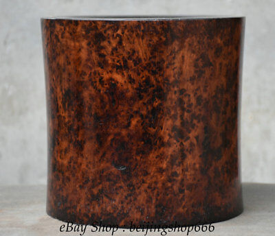 """8"""" Rare Old Chinese Huanghuali Wood Hand-Carving Smooth Brush Pot Pencil Vase"""