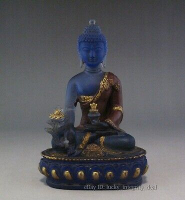 Old Chinese Crystal & copper Hand Carved Buddha /Guanyin Lotus seat figurine
