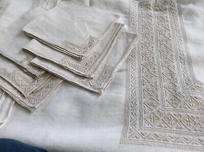 "Large Vintage Madeira Hand Embroidered Linen Tablecloth 69"" x 85"" 6 Napkins"
