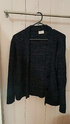 Gorman wool navy speckled cardigan knit size S 6 8