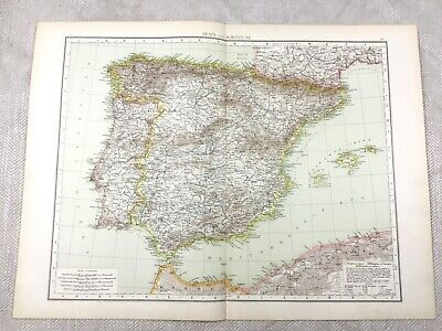 1895 Map of Spain Portugal Mediterranean Europe Old Antique 19th Century Large