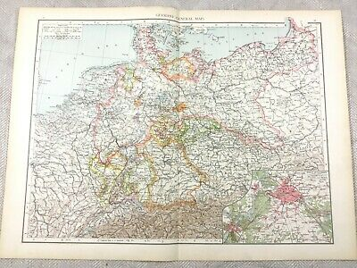 1895 Map of Germany Berlin The German Empire Old Antique 19th Century LARGE