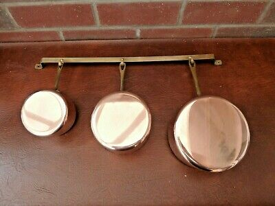 Set of 3 Vintage French Copper Pans Aluminium Lined With Cast Brass Handles