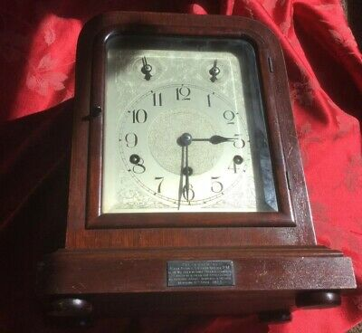 Large German Mahogany Mantel Clock  For Spares Or Repair 5 Gongs Masonic Interes