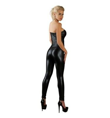 359e4af295 Tuta Overall a tubo wetlook Tg M | Catsuit sexy Donna Nero lucido Lingerie  01