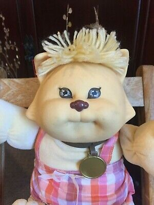 Cabbage Patch Kid ~  Cpk ~ Vintage Koosa  Cat With Pink Check Dress & Collar