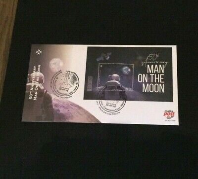 Fdc Malta 50Th Anniversary Man On The Moon Apollo 11 Nasa Armstrong Space