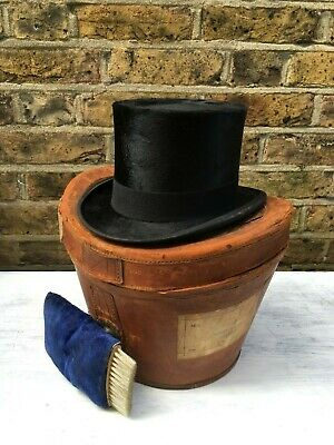 Antique Edwardian Beaver Hair Top Hat In Leather Case With Military Provenance