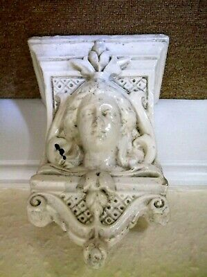 Antique 19Th Century Victorian Heavy Solid Plaster Art Nouveau Lady Corbel