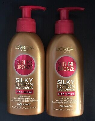 2x L'Oreal Silky Lotion Self-Tanning Anti-streak, Face & Body(NEW With FREE P&P)