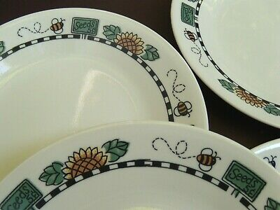 """Set of 5 CORELLE -small 6 3/4"""" Dessert/Bread PLATES - SUNBLOSSOMS - bees & seeds"""
