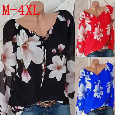Plus Size Womens Floral Loose Blouses T Shirts Ladies Holiday Casual Tunic Tops