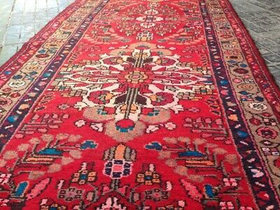 Authentic handknotted vintage karabagh caucasian runner rug Size:9.9x3.7 ft#219A