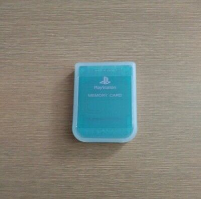 Official Clear Green Playstation One Memory Card + Case