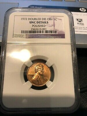 1972 Lincoln Cent Double Die Obv Ngc Unc Details Polished