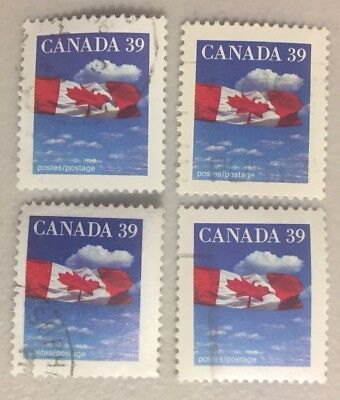 4 x CANADA 39c --- Canadian Flag Stamps CANCELLED / OFF PAPER