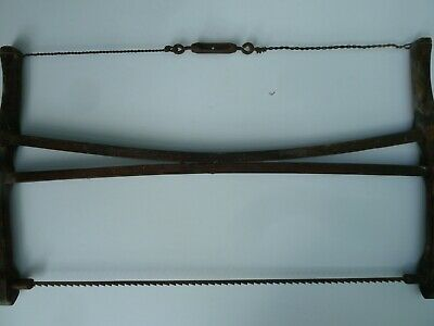 Antique SAW wood frame 2 handle primitive buck meat coping bow crosscut hand saw