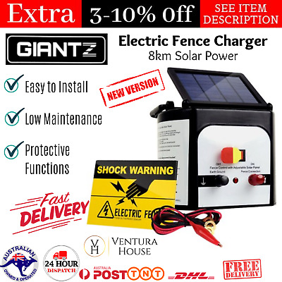 Solar Powered Energizer Charger Waterproof 8km Electric Fence 0.3J White -Giantz