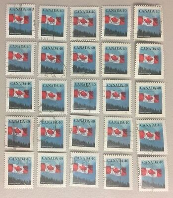 25 x CANADA 40c --- Canadian Flag Stamps CANCELLED / OFF PAPER