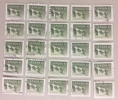 25 x CANADA 43c --- Canadian Flag Stamps CANCELLED / OFF PAPER