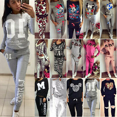 Womens Tracksuits Sweatshirt Tops Jogging Pants Sets GYM Sportswear Lounge Suit