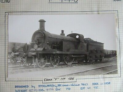 Vintage Railway Photo SECR Stirling No.138 F 4-4-0 Class F Loco   fc73k