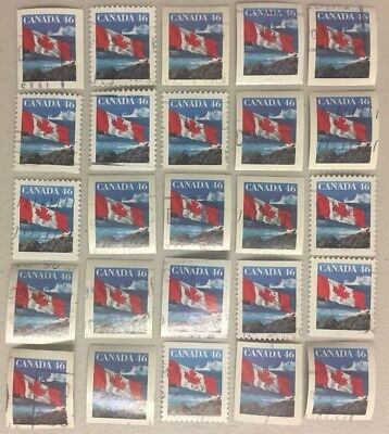 25 x CANADA 46c --- Canadian Flag Stamps CANCELLED / OFF PAPER