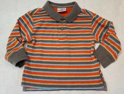 Hanna Anderson Boy's Orange Blue Striped Long Sleeve Shirt Size 90 3T Organic